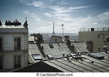 daken, toren, eiffel, achter