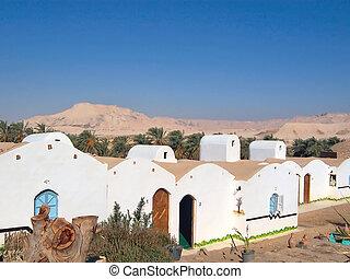 dakhla, lybian, egiziano, egitto, casa, oasi, piccolo,...