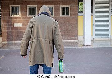 dakloos, dronken, en, alcohol, verslaafd, wandelende, alleen