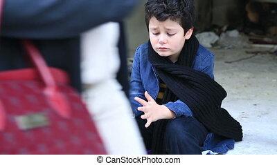 dakloos, kind, het bedelen, in, straat