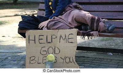 dakloos, kind, moe, het rusten