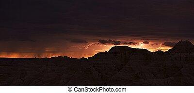 dakota, éclairage, sud, orage