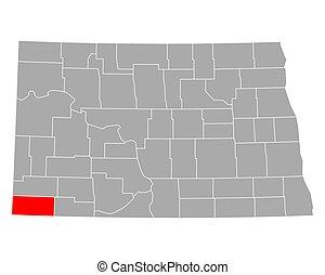 dakota, bowman, norte, mapa