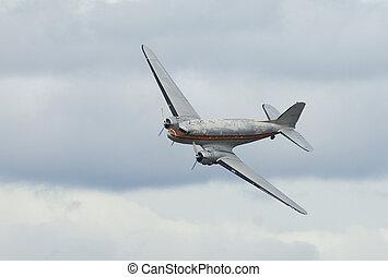 dakota, c-47, dc-3, avion, vieux, douglas