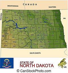 dakota, carte, nord, comtés