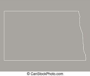 dakota, carte, nord