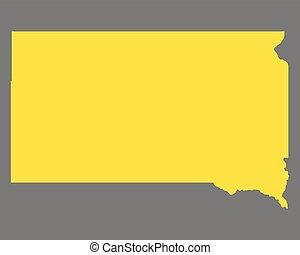 dakota, carte, sud