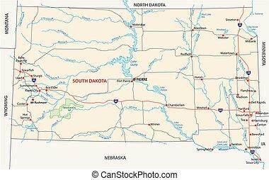 dakota, carte, sud, route