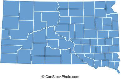 dakota, carte, vecteur, sud