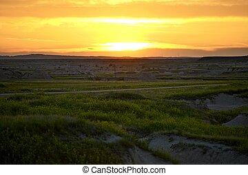 dakota, coucher soleil, sud