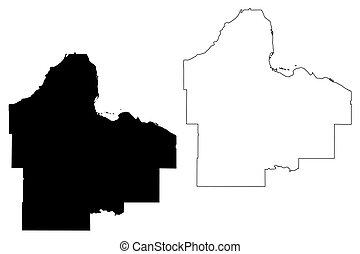Dakota County,  Minnesota (U.S. county, United States of America, USA, U.S., US) map vector illustration, scribble sketch Dakota map