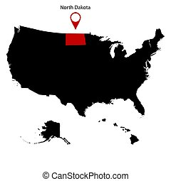 dakota, kaart, v.s., noorden, staat