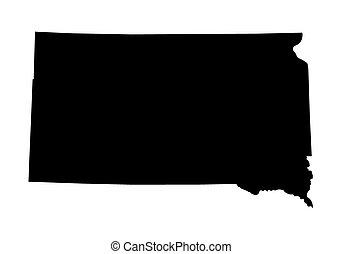 dakota, karta, svart, syd