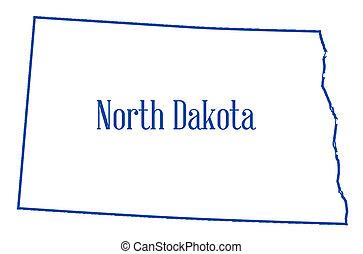 dakota, mapa, norte, contorno