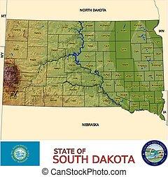 dakota, mapa, sur, condados