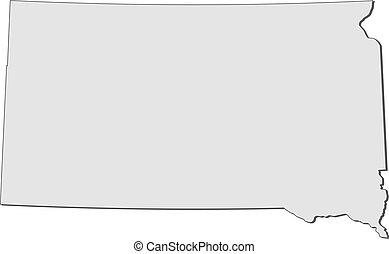 dakota, mapa, (united, states), sul