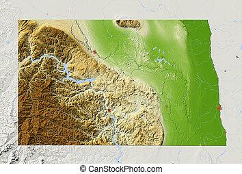 dakota nord, ombragé, carte soulagement