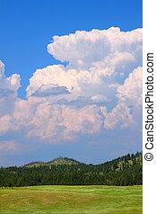 dakota, sur, nuages, orage, sud