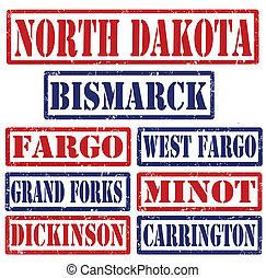 dakota, timbres, villes, nord