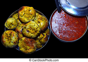 dal, イメージ, インド, bati, 有名, 皿