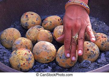 dal, イメージ, 女性, インド, 手, 有名, resting., bati, 皿
