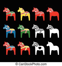 dala, suédois, cheval, dalecarlian