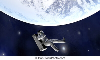 daleki, ziemia, ruchomy, astronauta