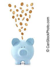 dalende muntstukken, piggy bank