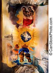 dali ceiling - FIGUERES, SPAIN - JUNE 15: Dali's bedroom in...