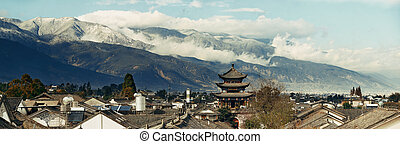 Dali Old Town - Dali old town rooftop view with cloudy Mt...