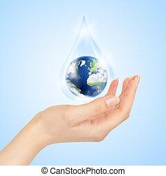 daling van water, met, aarde, binnen, en, hand