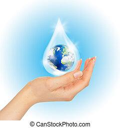 daling van water, met, aarde, binnen, en, overhandiig op, white.