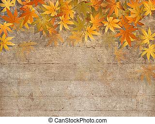 dalingsbladeren, grens, -, herfst, ontwerp