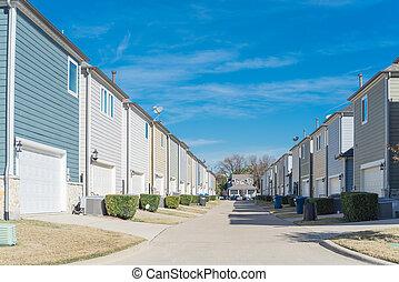 dallas, área, callejón, casa, primero, residencial, tejas, ...