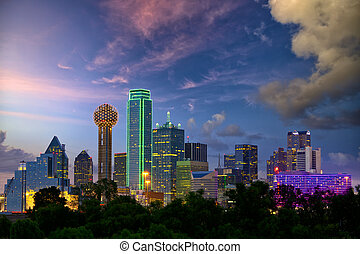 Dallas at dusk - Dallas City skyline at dusk, Texas, USA