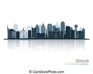 Dallas blue skyline silhouette with reflection.