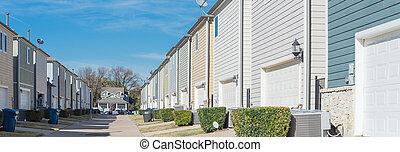 dallas, casas, línea, panorámico, two-car, garaje, callejón...