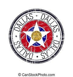 dallas, città, vettore, francobollo, texas