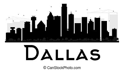 Dallas City skyline black and white silhouette.