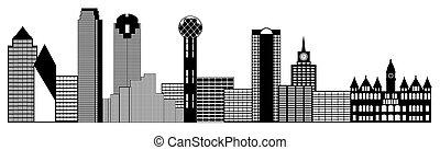 Dallas Texas City Skyline Panorama Black and White Silhouette Clip Art Illustration