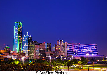 Dallas cityscape at the night time - Dallas, Texas cityscape...