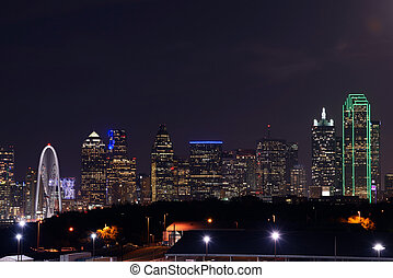 Dallas downtown view at night