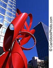 dallas, escultura, usa., rojo
