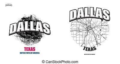 dallas, logotipo, texas, opere, due