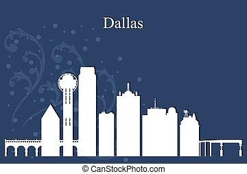 dallas, miasto skyline, sylwetka, na, błękitne tło