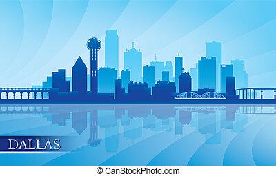 dallas, miasto skyline, sylwetka, tło