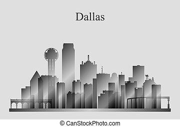 dallas, miasto skyline, sylwetka, w, grayscale