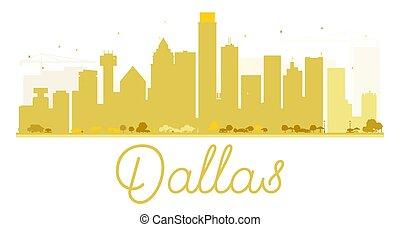 dallas, miasto skyline, złoty, silhouette.