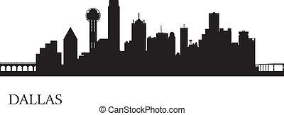 dallas, perfil de ciudad, silueta, plano de fondo