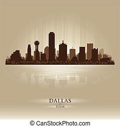 dallas, perfil de ciudad, silueta, tejas